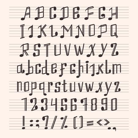 뮤지컬 장식 메모 알파벳 글꼴 손으로 점수 음악 점수 abc 타이핑 그래피 글리프 종이 책 벡터 일러스트 레이션