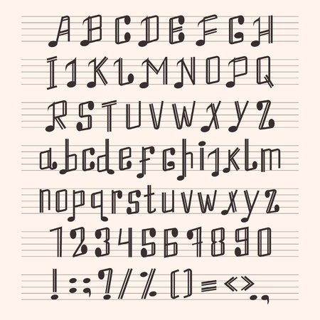Musical decorative notes alphabet font hand mark music score abc typography glyph paper book vector illustration Stok Fotoğraf - 80638078