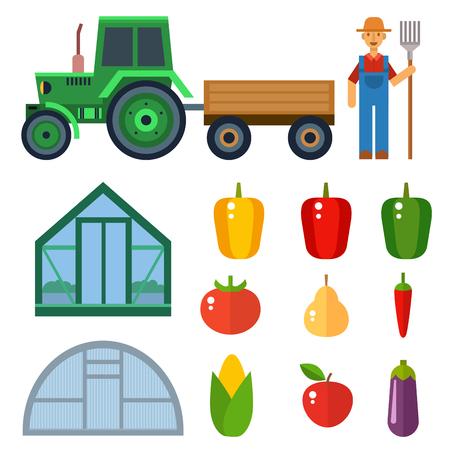 Vector boerderij oogst apparatuur voor landbouw en tuinbouw boeren man met handgereedschap