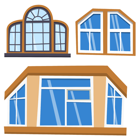 Different types house windows elements flat style frames construction decoration apartment vector illustration. Stock Vector - 80716820