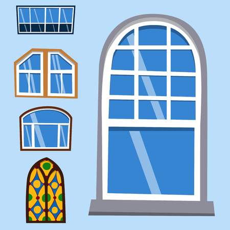 Different types house windows elements flat style frames construction decoration apartment vector illustration. Stock Vector - 80716814