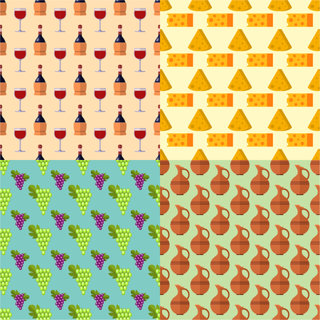 Winery making harvest cellar vineyard seamless pattern industry alcohol production vector illustration