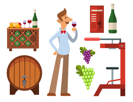 Winery making harvest cellar vineyard glass beverage industry alcohol production vector illustration