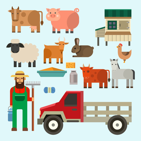 Farmer character man agriculture person profession rural gardener farm animals vector illustration.