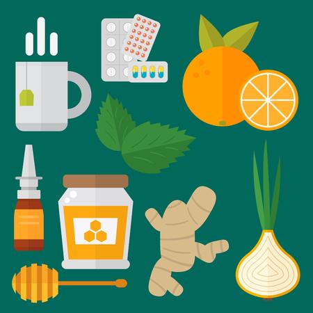 Influenza en koude thema-ontwerpelementen in trendy platte ontwerp gezondheid medische ziekte vector Stockfoto
