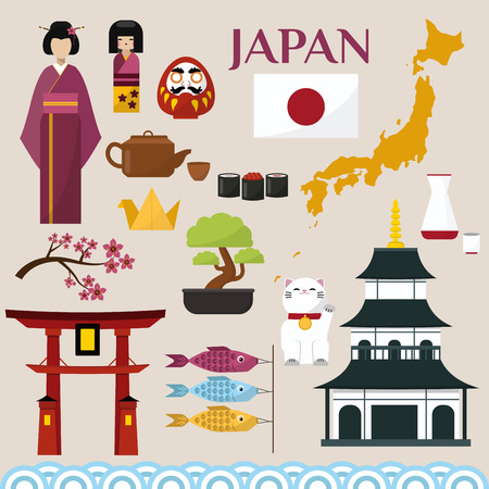 Japan famouse culture architecture buildings and japanese traditional food vector icons illustration of travel vacation to country. Japanese flag, temple, country Illustration