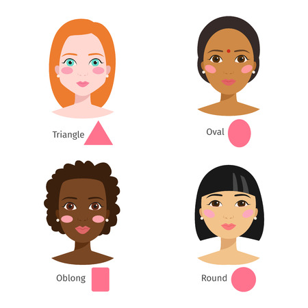 Set of different woman face types shapes female head vector character illustration. Cosmetology avatar shape healthy adult makeup. Triangle, round, rectangle, oval female face shapes. Illustration