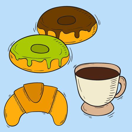 벡터 아이콘 달콤한 패스트 푸드 손으로 그린 레스토랑 아침 식사 케이크 디자인 부엌 건강에 해로운 디저트