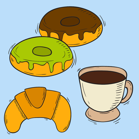 Vector icons sweet fast food hand drawn restaurant breakfast cake design kitchen unhealthy dessert