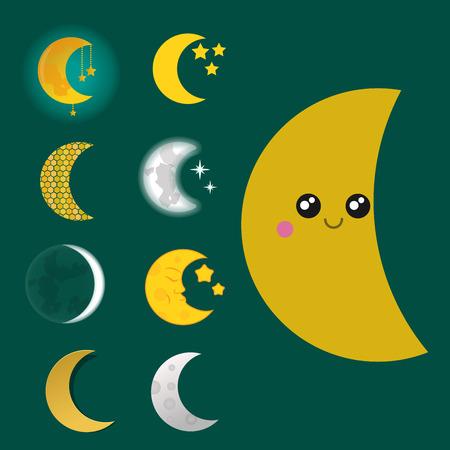 Verschiedene Mond Natur Kosmos Zyklus Satelliten Oberfläche ganze Zyklus von neuen Stern Vektor-Illustration. Standard-Bild - 80638522