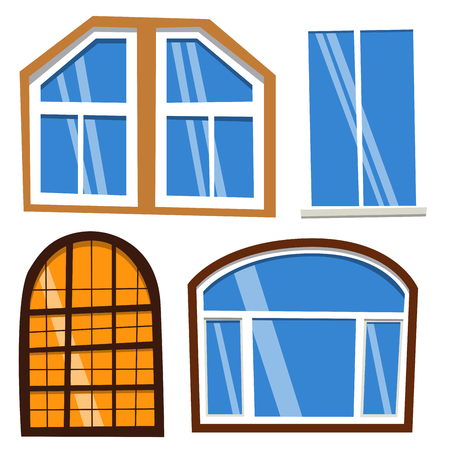 Different types house windows elements flat style frames construction decoration apartment vector illustration. Stock Vector - 80710573