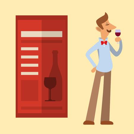 소믈리에 유리에서 레드 와인을 찾고 스위트 룸 전문 알코올 레스토랑 남자 문자 벡터 일러스트 레이 션. 일러스트