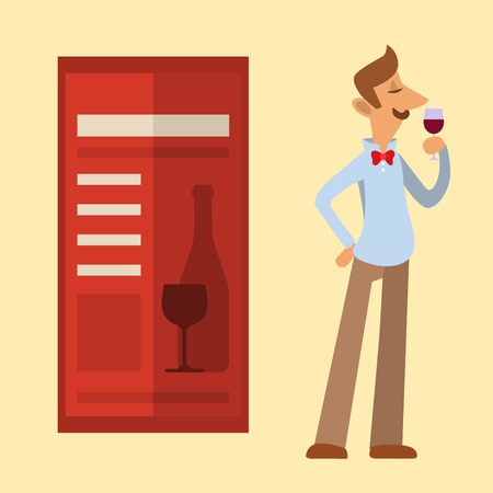 Sommelier in suite looking at red wine in glass professional alcohol restaurant man character vector illustration. Illustration