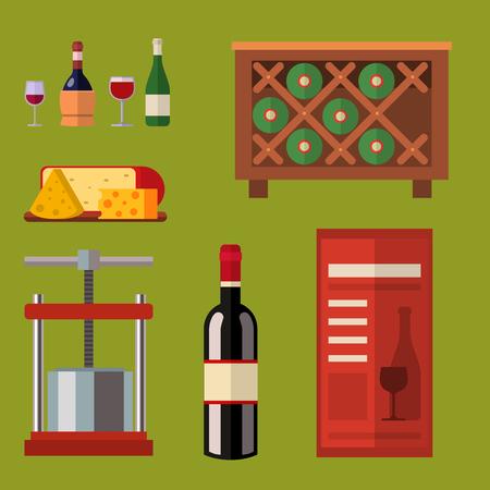 Bodega haciendo cosecha bodega viñedo vidrio industria de bebidas alcohol producción ilustración vectorial Foto de archivo - 80710599