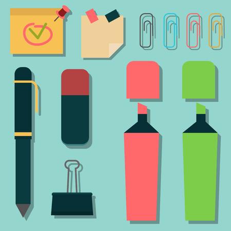 Reeks markeerstiften kleurrijke highlighters die grafische de leverings vectorillustratie van het tekenbureau trekken Stock Illustratie