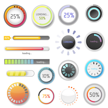 indicate: Progress loading bar indicators download progress ui-ux web design template interface file upload vector illustration