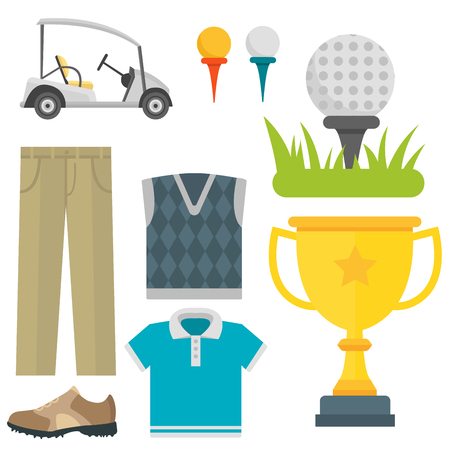 A Vector set of stylized golf icons hobby equipment collection cart golfer player sport symbols.