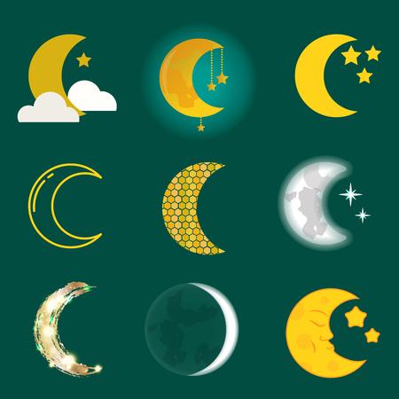 다른 달 자연 코스모스 사이클 위성 표면 새로운 스타 벡터 일러스트 레이 션에서 전체주기입니다. 일러스트