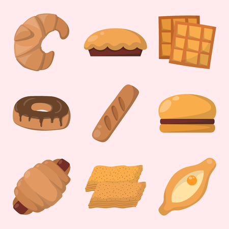 Cookie cakes isolated tasty snack delicious chocolate homemade pastry biscuit vector illustration 向量圖像