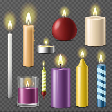 Candles realistic 3d set wax candle fire flame light isolated beeswax taper on transparent background vector illustration. Ilustração