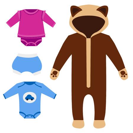 Vektor Baby Kleidung Icon-Set Design Textil casual Stoff bunten Kleid Kind Kleidungsstück tragen Illustration. Standard-Bild - 80721004