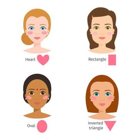 Set of different woman face types vector illustration character shapes girl beautiful female