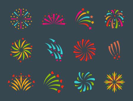 Fuegos artificiales ilustración vectorial celebración fiesta evento noche explosión luz festivo partido Foto de archivo - 80727368