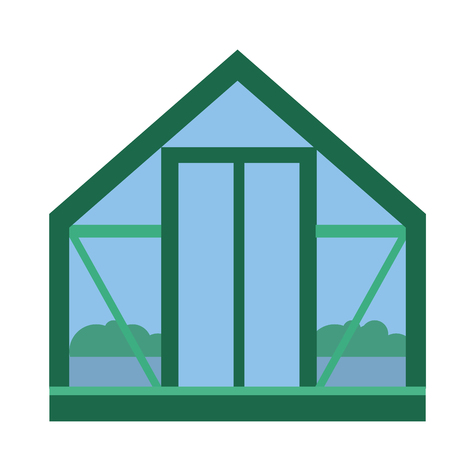 Glass greenhouse with fresh organic agriculture food garden vegetable plants vector illustration.