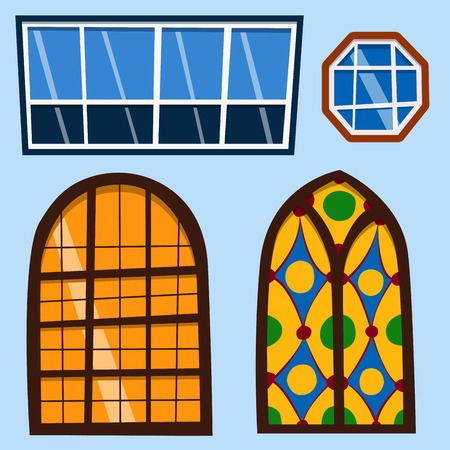 Different types house windows elements flat style frames construction decoration apartment vector illustration. Stock Vector - 80786984