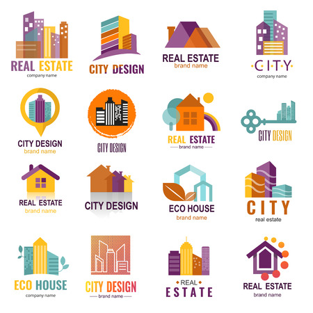 Architecture building skyscraper construction builder developer agency logo badge real estate company vector illustration Illustration