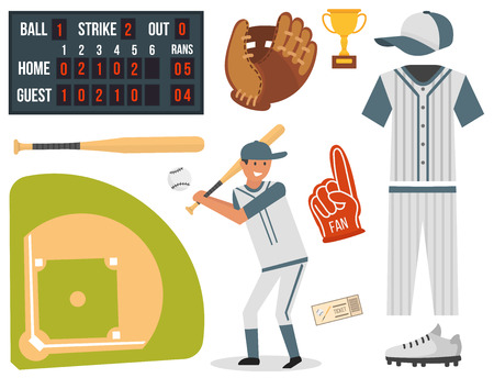 Cartoon baseball player icons batting Illustration