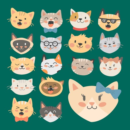 Cats heads vector illustration cute animal funny decorative characters color abstract feline domestic trendy pet drawn. Happy mammal fur adorable breed.  イラスト・ベクター素材