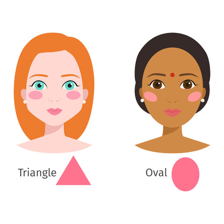 Set of different woman face types shapes female head vector character illustration. Cosmetology avatar shape healthy adult makeup. Perfect fresh skin pure beauty attractive model. Ilustração