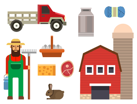 Farm icon vector illustration nature food harvesting grain agriculture different animals characters. Modern flat graphic growth cultivated design. Illustration