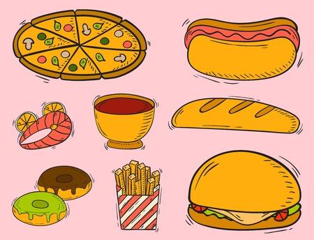Vector icons fast food hand drawn restaurant breakfast hamburger design kitchen unhealthy dessert Illustration