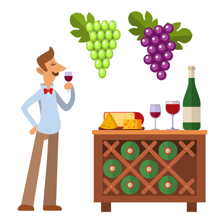Sommelier in suite looking at red wine in glass professional alcohol restaurant man character vector illustration. 向量圖像