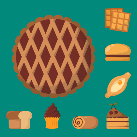 confection: Cookie cakes isolated tasty snack delicious chocolate homemade pastry biscuit vector illustration Stock Photo