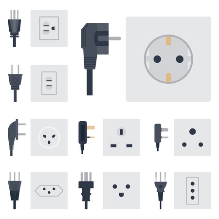 Electric outlet vector illustration energy socket electrical outlets plugs european appliance interior icon. Banco de Imagens