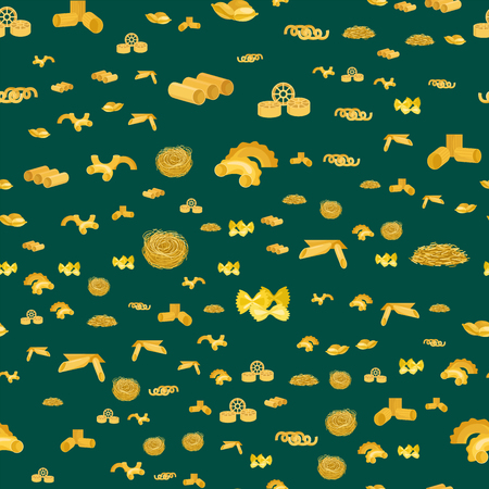 Pasta whole wheat seamless pattern corn rice noodles organic food macaroni background nutrition dinner products vector illustration Illustration
