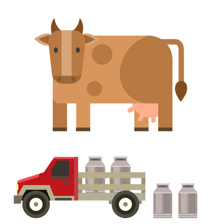 Farm cow and bull vector illustration nature agriculture car animal character