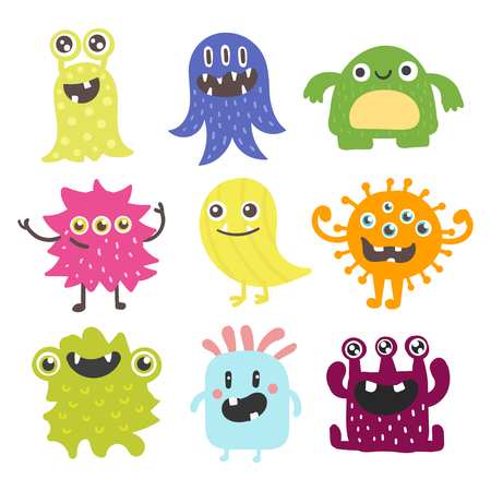 alien face: Funny cartoon monster cute alien character creature happy illustration devil colorful animal vector.