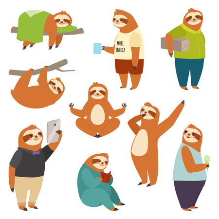 Laziness sloth animal character different human pose lazy cartoon kawaii wild jungle mammal flat design vector illustration people life role Vettoriali