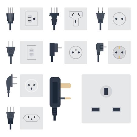 Alimentation électrique illustration vectorielle prise d'énergie prises électriques prises enfichable l'icône de l'intérieur des appareils européens.