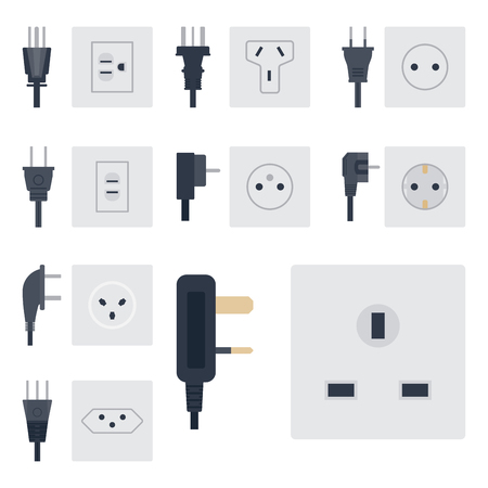 Electric outlet ilustración vectorial enchufe de energía tomacorrientes enchufes electrodomésticos europeos interior icono.
