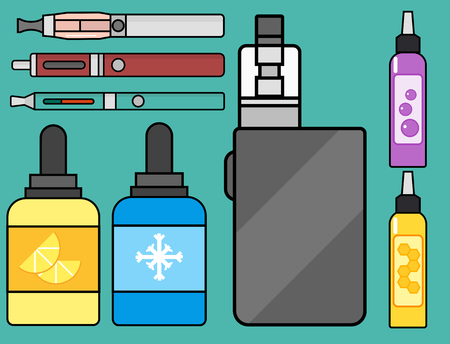 Vape device vector set cigarette vaporizer vapor juice vape bottle flavor illustration battery coil. Trend new culture electronic nicotine liquid. Smoking atomizer device e-liquid. Illustration