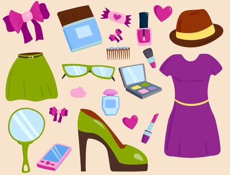 Vector summer girl clothing and accessories isolated shopping items and beautiful cosmetic or makeup. Ilustração