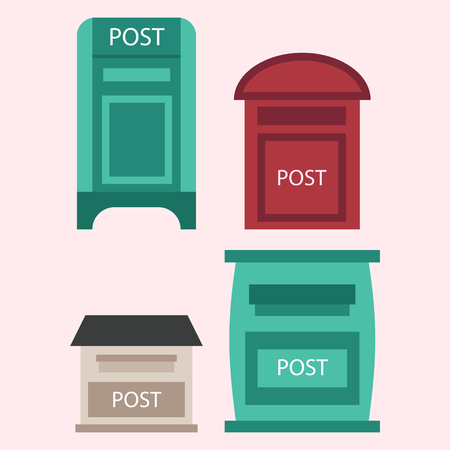 Beautiful rural curbside open and closed postal mailboxes with semaphore flag postbox vector illustration Illusztráció