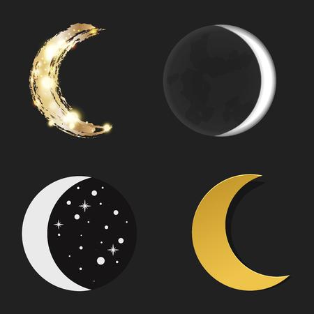 Verschiedene Mond Natur Kosmos Zyklus Satelliten Oberfläche ganze Zyklus von neuen Stern Vektor-Illustration. Standard-Bild - 80877168