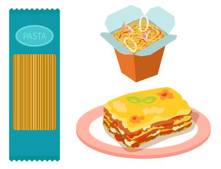 Verschillende soorten Pasta Volkoren Maïs Rijst Nodels Biologisch Voedsel Macaroni Geel Voeding Diner Producten Vector Illustratie