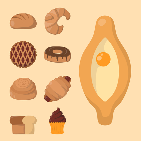 Cookie cakes isolated tasty snack delicious chocolate homemade pastry biscuit vector illustration Çizim